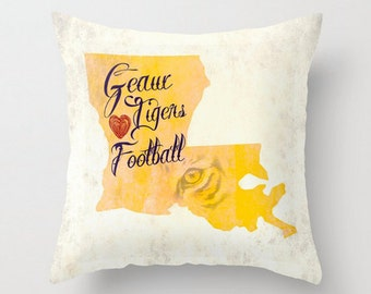 Throw Pillow | Geaux Tigers Football Sunday | Louisiana Purple Gold | Size and Price via Dropdown
