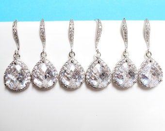 Set of 1-4 Pairs, Sparkling, Cubic, Silver, Earrings, Dangle, Drop, Earrings, Wedding, Bridal, Bridesmaid, Gift, Jewelry