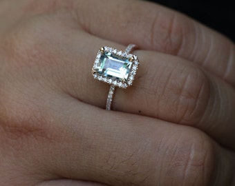 Rose Gold Aquamarine Engagement Ring with Aquamarine Emerald Cut 9x7mm and Diamond Halo in 14k Rose Gold Ring