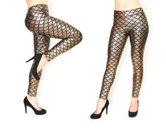 Mermaid Leggings, Mermaid Leggings Women, Gold mermaid leggings, Gold Leggings