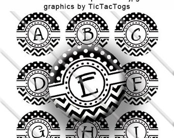Black White Polka dot Chevron Alphabet Bottle Cap Images Digital Collage 1 Inch A-Z Digi - Instant Download - BC401
