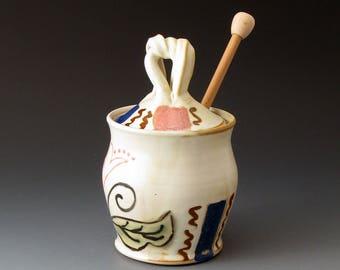 Honey Pot with Leaf Motif, Handmade Ceramic Covered Jar, Sugar Bowls, Lidded Jar, Fine Art Ceramics, Handcrafted
