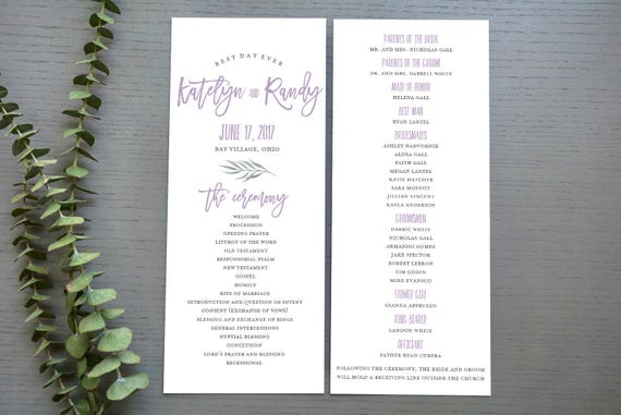 Lilac Dover Wedding Program