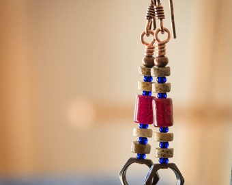 Rustic Red and Copper Earrings