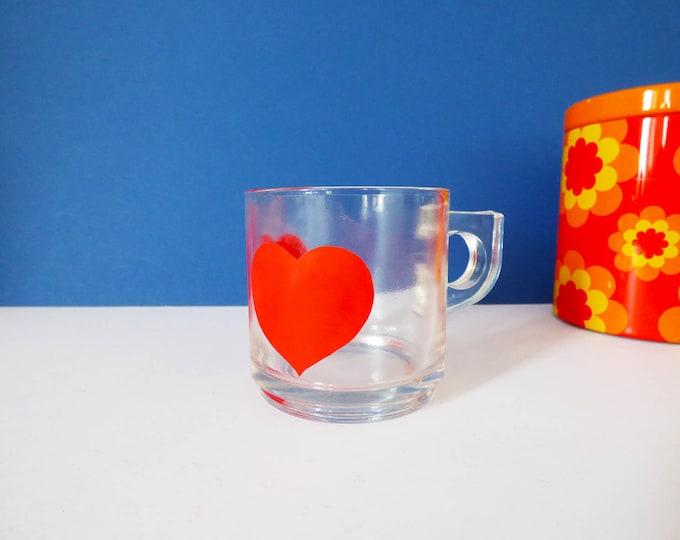 Glass Heart mug 1970's vintage