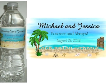 100 BEACH WEDDING FAVORS water bottle labels ~ glossy ~ waterproof ink ~ Free Shipping