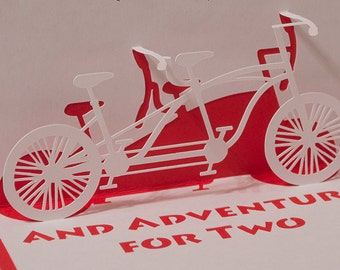 Bicycle Built For Two Pop-Up Card / Valentine Greeting Card / Romantic Card / Anniversary Card