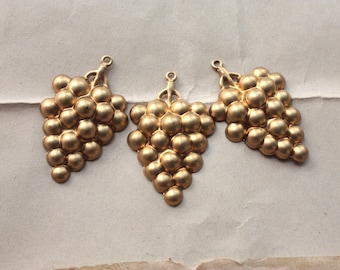 Vintage Brass Bunch of Grapes Stampings   Small Kitsch Fruit Pendant Charms   New Old Stock Jewelry Craft Supply   Necklace or Earring Parts