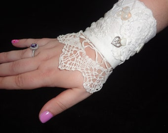 OOAK Victorian Look Cuff Chic Boho Wrist Cuff Shabby Elegance Fabric Cuff One of a Kind Atlantic Rock Threads