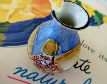 Mini Vintage Geisha Porcelain Vase with Moriage