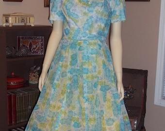 "Organza Dress,Jean Lang Original 50""s blue flower dress Full Skirt Swing ,Excellent condition size Med / Large"