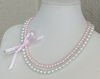 ON SALE Pick Your COLOR Maid of Honor Gift Pink & White 2 Strand Pearl Bridal Mother Of Bride WEDDing Flower Girl Necklace By DYEnamite