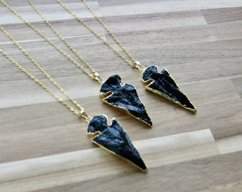 Long Black Arrowhead Necklace - Gold and Black Boho Arrowhead Necklace, Long Gold Layering Necklace, Shiny Black Obsidian Layering Necklace