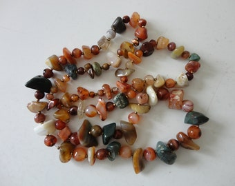 VINTAGE multi color polished agate BEADED NECKLACE - single strand - no closure - slip on - long strand