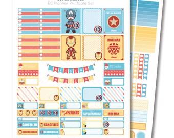 Erin Condren Super Heroes Printable Planner Sticker Set, Erin Condren Life Planner, Instant Download