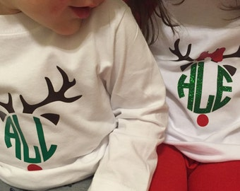 Personalized Reindeer Kid Toddler Infant Shirt or Onesie
