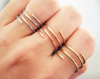 Wire Rings, Sterling Silver Ring, Copper Ring, Gold Ring, Wire Wrap, Wrap Around Ring, Wire Jewelry, Wire Wrapped Jewelry, Boho Ring, Midi