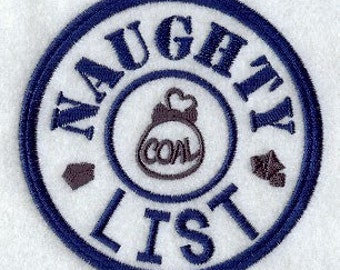 Naughty List Applique  Embroidered Patch , Sew or Iron on