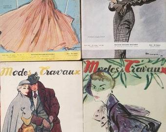 French Fashion Magazine, Modes & Travaux, French Monthly Magazine, French Ephemera, Vintage Fashion Monthly Magazine, Vintage Cover Art