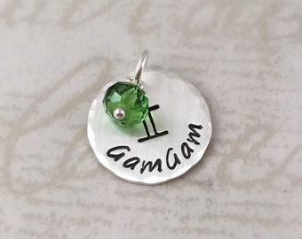 Inspirational, Handmade sterling silver name charm with birthstone and center design, hand stamped custom name, personalized charm