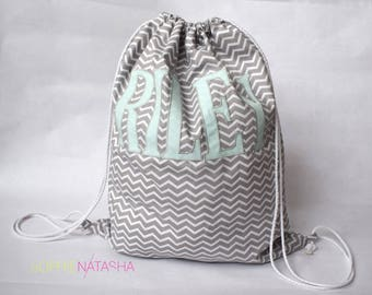 Personalised Grey Chevron Drawstring Bag with Mint Grey Lettering, School Bag, PE Bag, Nursery Bag - Any name can be embroidered