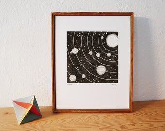 space 3 · original linocut · Limited Edition · DIN A4