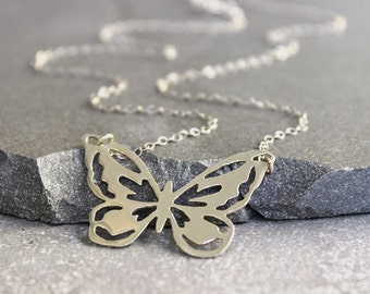 Silver butterfly necklace, Sterling silver pendant necklace, Everyday necklace, Simple jewelry.