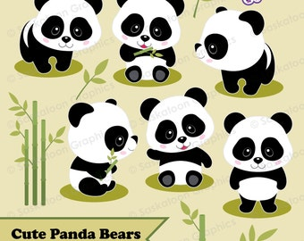 Cute Panda Bear Clipart - Instant Download File - Digital Graphics - Crafts, Web Design - Commercial & Personal Use - Jungle -#A021