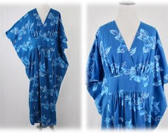 Vintage Hawaiian Blue Cotton Caftan Hilo Hattie