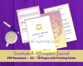 Daily Gratitude Journal   Mood Journal, A5 journal insert, A5 Printable Planner Download, Gratitude Journal, Mindfulness, Daily Gratitude