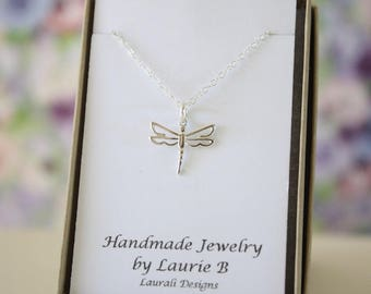 Dragonfly Charm Necklace, Friendship Gift, Sterling Silver, Bestie Gift, Bird Necklace, Thank you card, Nature, Delicate Dragonfly Silver