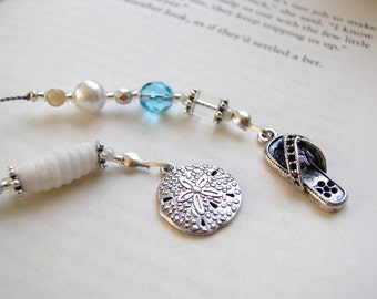 Summer Beach Reading Bookmark - Girl Gift for Friends and Book Club Sand Dollar Flip Flops Book Thong - Beaded Bookmark wth Silver Charms