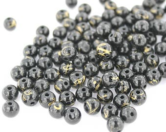 50 Black Glass Beads with a Splash of Gold - 6mm Necklace Beads - BD179