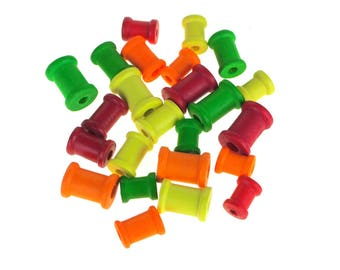 Wooden Spool Medley Beads, Neon, 24-Count