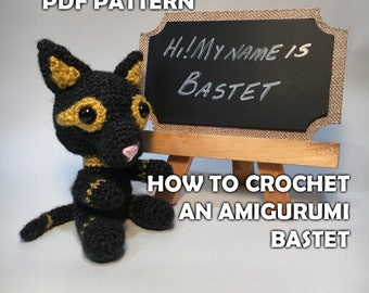 How to Crochet Amigurumi Bastet - Crochet Cat Pattern PDF - Crochet Ancient Egyptian God Stuffed Animal - DIY Crafts - Amigurumi Cat Pattern
