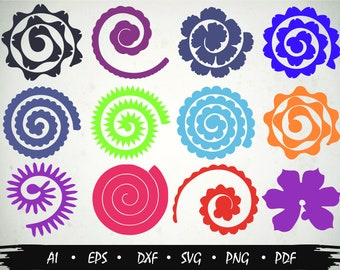Rolled Paper Flowers (12) svg, Cutting files, Flowers origami ,Rolled Paper Flowers,Origami svg, Diy Flower Decor