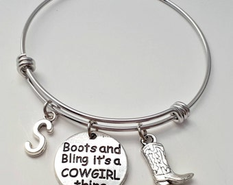 Cowgirl Bracelet, Cowboy Gift, Western Boot, Stainless Steel, Bangle Bracelet, Adjustable Bangle, Personalized Jewelry, Gift For Her