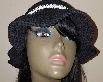 Woman's Crochet Black Cotton Sun Hat, bucket hat, Floppy Hat, Beach Hat.