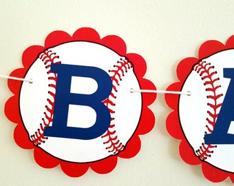 Baseball Baby Shower Banner - Baseball Banner - Baseball Birthday Banner - Red Scallop Circle Baseball Banner