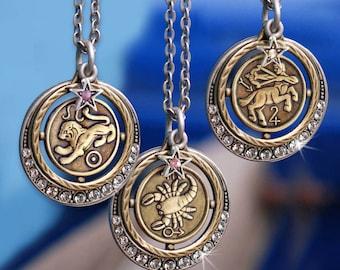 Zodiac Necklace, Astrology Necklace, Zodiac Jewelry, Astrology Jewelry, Horoscope Jewelry, Birthday Gift, Birthstone Necklace, Star N1244
