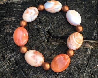 Beautiful Citrine Bracelet made with 1970's cut Vintage with Copper Accents ~ Root & Solar Plexus Chakra