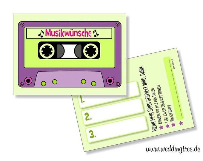 Wedding 50 Music Wish cards-cassette-Hochzeitsdeko