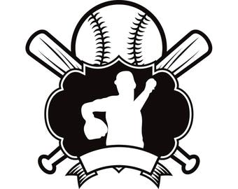 Baseball Logo #3 Pitcher Bats Crossed Ball Diamond Sports League Equipment Team Game Field Logo .SVG .EPS .PNG Vector Cricut Cut Cutting
