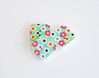 5x Square Wooden Buttons - Turquoise with Flowers - 15mm 2 hole buttons