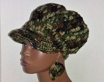 Crochet Newsboy Hat with Earrings, Camouflage Newsboy Cap, Women's Winter Hat, Crochet Hat with Visor, Camo Print Newsboy Cap with Earrings