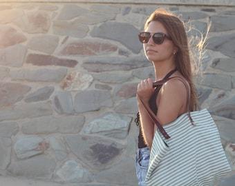 Summer tote Bag, beach tote bag, travel tote, green lines bag, leather handles bag, cavas bag, lagut, Beach bag, woman tote bag, tote bag