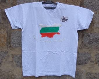 Fundraiser T-shirt,Give a Chance Through Art,Hand Painted National Bilgarian Flag T-shirt,3th of March, Patriotic Shirt gift,Bulgaria flag .