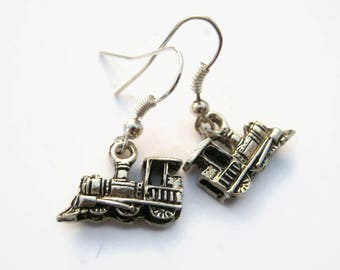 Train Earrings, Antiqued Silver Locomotive Earrings, Personalized Birthstone Earrings, Engine Jewelry, Railfan Gift, Conductor Charm