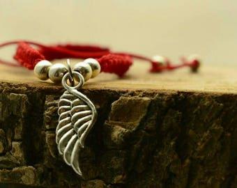 Red bracelet , angel wing, string brecelet , simple bracelet , amulet , red amulet ,protection bracelet , red string , angels wings