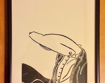 Shark Man -- Original Framed Relief Print